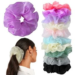 10 Pcs Hair Scrunchies Chiffon Oversize Elastic Hair Ties Solid Color Large Shiny Scrunchies for ...   Amazon (US)