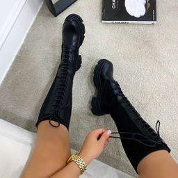 Khaleesi Black Knit Lace Up Chunky Calf Boots | Simmi Shoes
