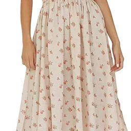 Womens Summer Floral Print Puff Sleeves Vintage Ruffles Midi Dress | Amazon (US)
