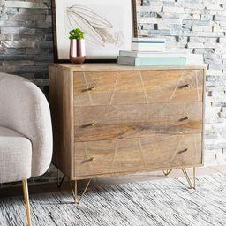Safavieh Marigold 3-Drawer Natural/Brass Chest-CHS9001A - The Home Depot | The Home Depot