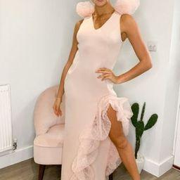 ASOS DESIGN Premium textured mesh bubble detail plunge maxi dress in rose dust | ASOS (Global)
