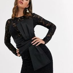 ASOS DESIGN long sleeve lace waist satin bow detail mini dress | ASOS (Global)