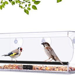VIVOHOME Acrylic Squirrel Proof Rectangle Clear Window Bird Feeder with Strong Suction Cups and S... | Amazon (US)