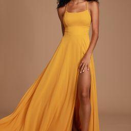 Dreamy Romance Mustard Yellow Backless Maxi Dress   Lulus (US)