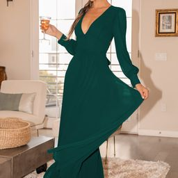Talk About Divine Hunter Green Long Sleeve Backless Maxi Dress | Lulus (US)