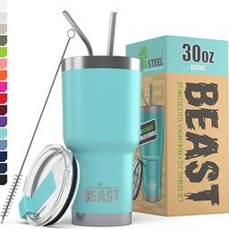 BEAST 30oz Teal Blue Tumbler - Stainless Steel Insulated Coffee Cup with Lid, 2 Straws, Brush & G...   Amazon (US)