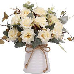 YILIYAJIA Artificial Flowers in Vase Silk Rose Flower Arrangements Fake Faux Flowers Bouquets wit...   Amazon (US)