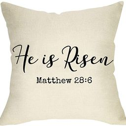 Softxpp He is Risen Decorative Throw Pillow Cover Easter Sign Cushion Case, Spring Holiday Home D...   Amazon (US)