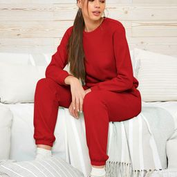 SHEIN Solid Pullover & Sweatpants Set | SHEIN