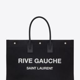 rive gauche tote bag in linen and leather | Saint Laurent