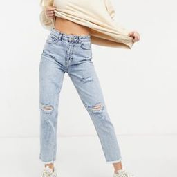New Look acid wash ripped mom jeans in light blue | ASOS (Global)