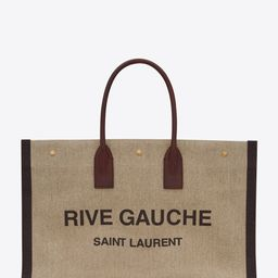 rive gauche tote bag in printed linen and leather | Saint Laurent