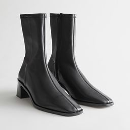 Squared Toe Leather Sock Boots | & Other Stories
