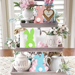 3Pcs Easter Wooden Rabbit Shaped Tiered Tray Decoration Blue Pink Green Easter Rustic Farmhouse D...   Amazon (US)