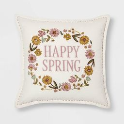 Square Floral 'Happy Spring' Easter Pillow - Threshold™ | Target