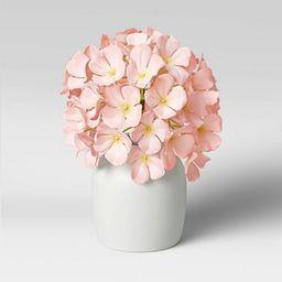 "10"" x 8"" Artificial Hydrangea Arrangement in Glass Vase Pink - Threshold™ | Target"