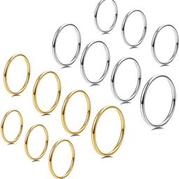 7-14 PCS 1MM Stainless Steel Band Knuckle Stacking Rings for Women Fashion Midi Rings Comfort Fit...   Amazon (US)