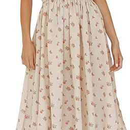 R.Vivimos Womens Summer Floral Print Puff Sleeves Vintage Ruffles Midi Dress | Amazon (US)