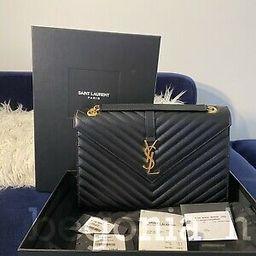 YSL Saint Laurent Large Monogram Envelope Bag in Black with Gold Straps | eBay US