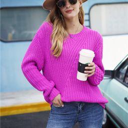 Neon Pink Drop Shoulder Sweater | SHEIN