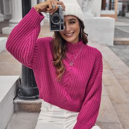 Drop Shoulder Cable Knit Sweater | SHEIN