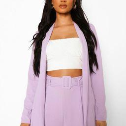 Womens Fitted Collarless Blazer - Purple - 4   Boohoo.com (US & CA)