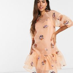 ASOS DESIGN organza embroidered mini smock dress with balloon sleeves in peach | ASOS (Global)