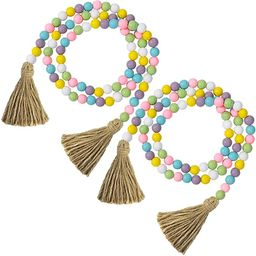 2 Pieces St. Patrick's Day Easter Wood Bead Garlands with Tassels 10.8 Feet Farmhouse Rustic Coun...   Amazon (US)