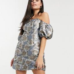 Chi Chi London Petite puff sleeve structured mini dress in gray tonal print | ASOS (Global)