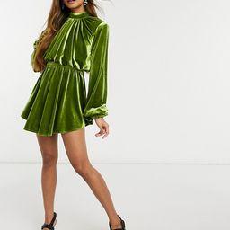 ASOS LUXE velvet high neck blouson mini skater dress in green | ASOS (Global)