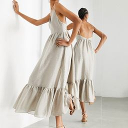 ASOS EDITION textured cami midi dress with tiered hem in sand | ASOS (Global)