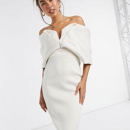 ASOS DESIGN off shoulder sweetheart bardot V wire pencil midi dress in stone | ASOS (Global)