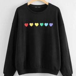 Heart Print Drop Shoulder Oversized Sweatshirt | SHEIN