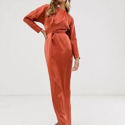 ASOS DESIGN maxi dress with batwing sleeve and wrap waist in satin | ASOS (Global)