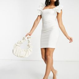 Vesper mini dress with exaggerated sleeve in white | ASOS (Global)
