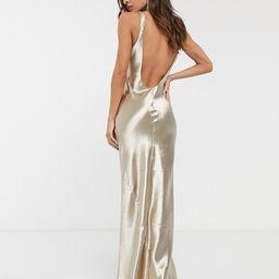 ASOS DESIGN scoop back bias cut satin maxi dress | ASOS (Global)