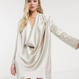 ASOS DESIGN high shine satin cowl neck mini shift dress in Oyster | ASOS (Global)