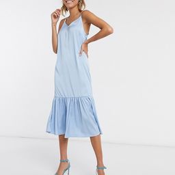 Vero Moda satin cami dress with peplum hem in blue | ASOS (Global)