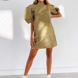Ghospell mini dress with puff sleeves in check | ASOS (Global)