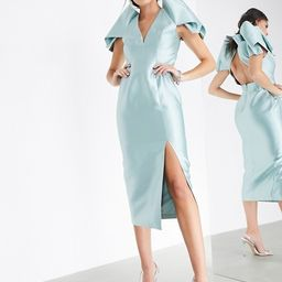 ASOS EDITION satin pleat sleeve midi dress in blue | ASOS (Global)