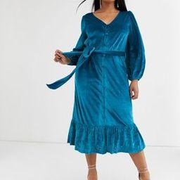 ASOS DESIGN Curve midi wrap dress in velvet broderie in aqua | ASOS (Global)