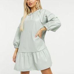 ASOS DESIGN leather look mini smock dress in sage | ASOS (Global)