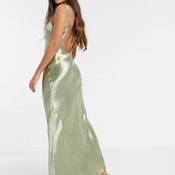ASOS DESIGN scoop back bias cut satin maxi dress in Milky Khaki | ASOS (Global)