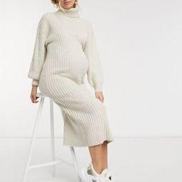 ASOS DESIGN Maternity midi rib dress with cowl neck in oatmeal   ASOS (Global)