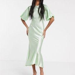 ASOS DESIGN satin midi tea dress with lace inserts in green | ASOS (Global)