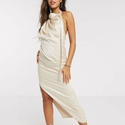 ASOS DESIGN halter drape detail midi dress with buckle in textured satin crepe | ASOS (Global)
