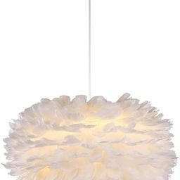 Surpars House White Feather Chandelier Beautiful Pendant Light for Bedroom,Living Room,Girls Room | Amazon (US)