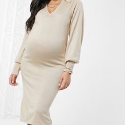 ASOS DESIGN Maternity midi dress with open collar detail in taupe   ASOS (Global)