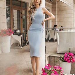 Light blue wedding guest dress/  Pensil Midi Dress | Etsy | Etsy (US)