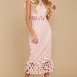 Love's High Hopes Blush Pink Crochet Midi Dress | Red Dress